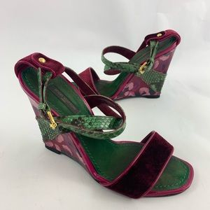 Louis Vuitton edge Sandals Python Leather Velvet